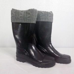 Women's Black Sock Top Rubber Calf High Boots